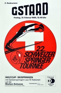 Original Vintage Winter Sport Poster Gstaad Schweizer Springer Tournee Ski Jump