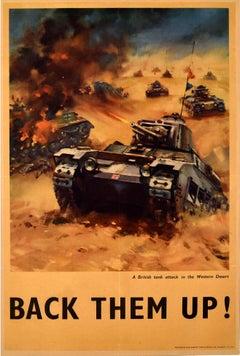 Original Vintage WWI Propaganda Poster Back Them Up Tank Attack Western Desert
