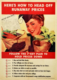 Original Vintage WWII Poster Rationing Runaway Prices USA Victory Economy Plan
