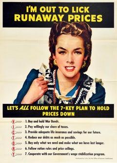 Original Vintage WWII Poster Runaway Prices Economy Rationing War Bonds Victory