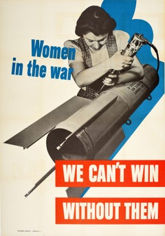 Original Vintage WWII Poster Women In The War We Can't Win Without Them USA