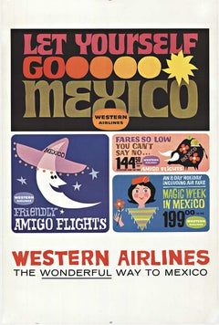 Original Western Airlines Let Yourself Go Mexico vintage poster