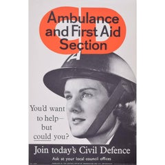Original WW2 Ambulance First Aid Civil Defence Poster UK Propaganda for HMSO