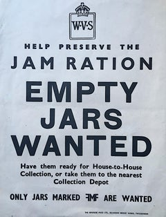 Original WW2 poster Empty Jars Wanted Help Preserve the Jam Ration Poster War II