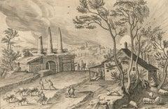 P Galle after Hendrick van Cleve - 1585 Engraving, Sepulcrum trium Horatiorum