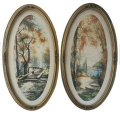 Pair French Chateau Landscape Signed by Artist Lithograph