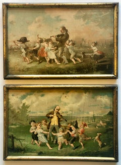 Pair Of Framed Color Prints, French Village Scene With Children Celebrating