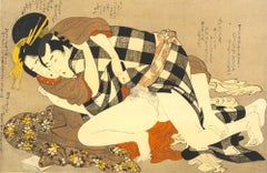Pair of Shunga Scenes - Woodcut Print by Japanese Master Early 20th Century