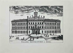 Palazzo Montecitorio - Original Etching - 1970s