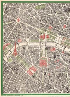 PARIS (FRANCE) City Map original vintage poster