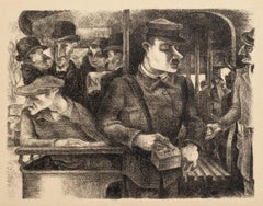 Passengers - Original Litograph by German Expressionist - 1930s