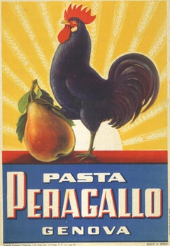 """Pasta Peragallo Genova"" small store advertising display 1920s with Rooster"