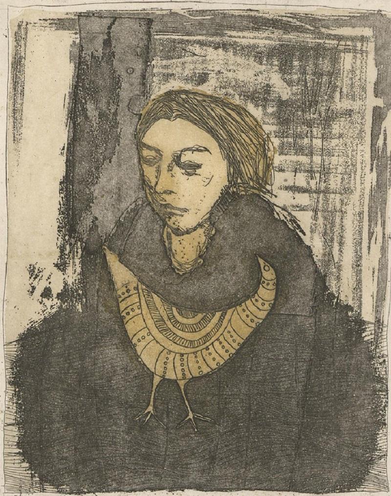 Peter Van Der Westhuizen (1931-2008) - Signed 1988 Etching, Lady in Black