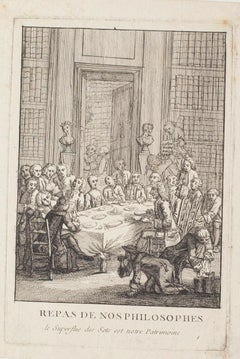 Philosophers' Lunch - Original Etching On Paper - 17th Century