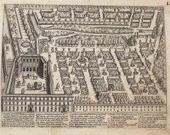 Pianta dei Giardini di S. Maria - Roma - Original Etching  - 17th Century