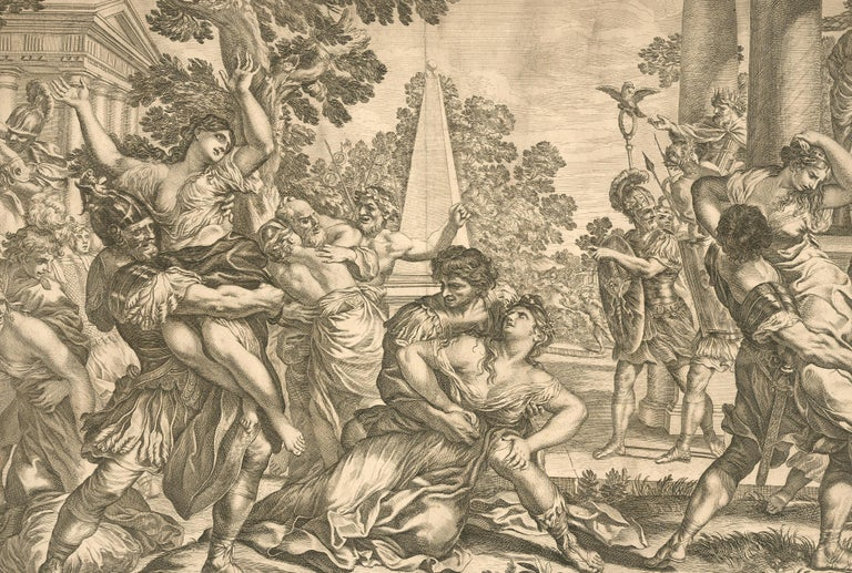 Pietro Aquila (1650-1692) After Cortona - Engraving, Rape of the Sabines - Brown Figurative Print by Unknown