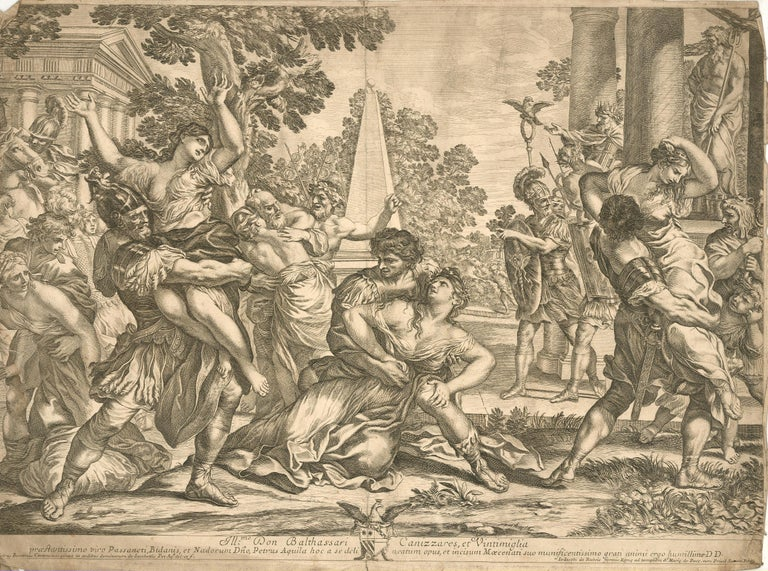 This remarkably fine late 17th Century engraving by painter and engraver Pietro Aquila (1650-1692) captures the ravishing qualities of the original c.1630 painting entitled 'The Rape of the Sabines' by Pietro da Cortona (1596-1669), currently
