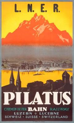 """Pilatus Bahn L.N.E.R."" Original Vintage Travel Poster"