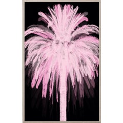 Pink and Black Palm, acrylic box, framed