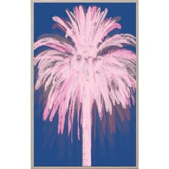 Pink and Blue Palm, acrylic box, framed