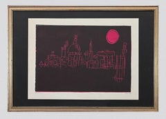 Pink Rome - Original Lithograph signed Baira - 1970s