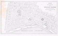 Plan de la Nouvelle Orléans - Original Lithograph - 1880