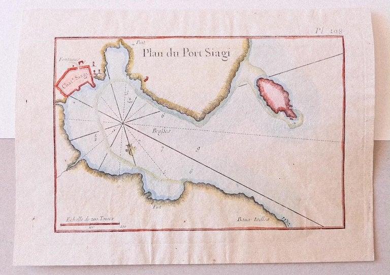 Unknown Figurative Print - Plan of Port Siagi - Original Etching by Joseph Roux - 1795
