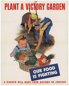 Plant A Victory Garden Our Food is Fighting original World War 2 vintage poster