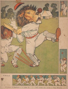 Playing Lion - Original Lithograph on Paper - 19th Century