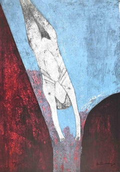 Plunge into the Abyss - Original Lithograph by Rufino Tamayo - 1974