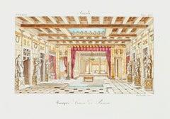 Pompei, Pansa House - Original Lithograph - 19th Century