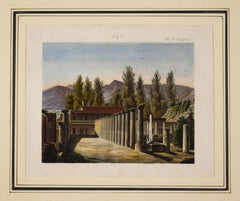 Pompeii  - Original Etching and Watercolor - 19th Century