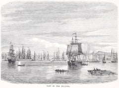 Port of New Orleans  - Original Woodcut Print - 1870