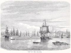 Port of New Orleans  - Original Woodcut Print - 1870