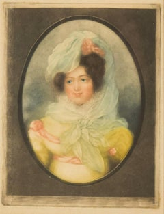 Portrait of a Gentlewoman - Original Colored and Mezzotint - 18th Century