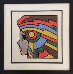 Portrait of a Girl with Headdress 1977 Silkscreen Signed