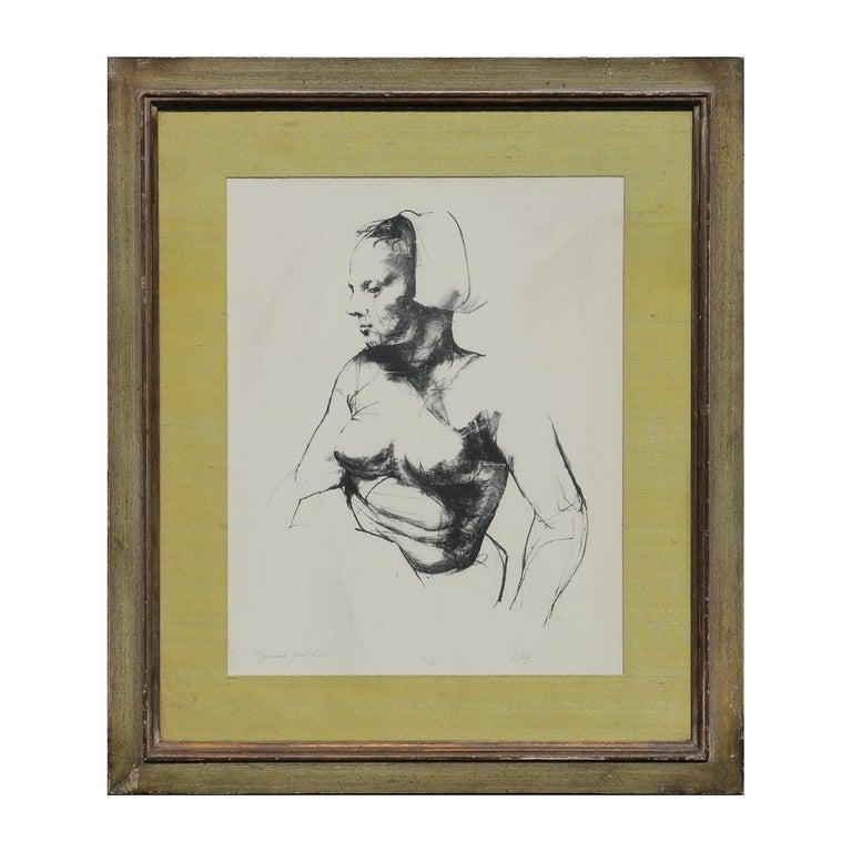 Unknown Portrait Print - Portrait of a Nude Woman Lithograph Edition 12/35