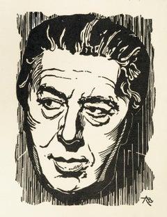 Portrait of André Breton - Original Woodcut Print - Early 1900