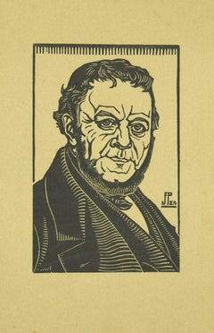 Portrait of Elegant Man - Original Woodcut - Early 20th Century