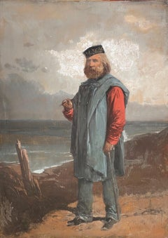 Portrait of Giuseppe Garibaldi in front of the Sea - Gouache - 19th Century