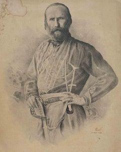 Portrait of Giuseppe Garibaldi - Original Lithograph - 19th century