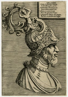 Portrait of the hero Orlando - Engraving - 16th Century
