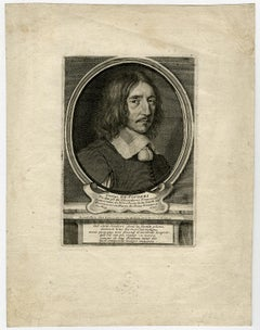 Portrait of the novellist and poet George de Scudery. - Engraving - 18th Century