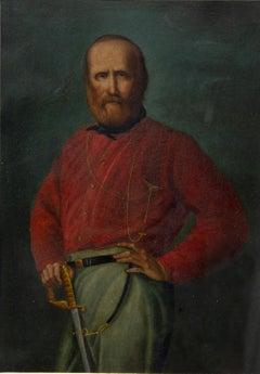 Portrait of Young Giuseppe Garibaldi - Oil on Copper - 19th Century