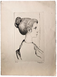 Portrait - Original Etching - Mid-20th Century