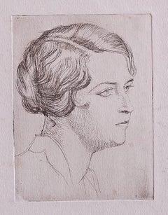 Portrait - Original Etching on Paper - 1930s