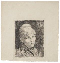 Portrait - Original Etching Print - 20th Century