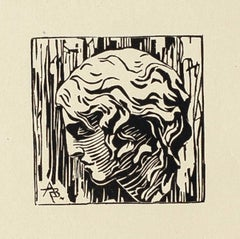 Portrait - Original Woodcut on Paper - 20th Century