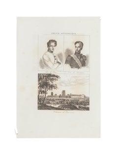 Portraits and Cityscape - Original Lithograph  - 19th Century