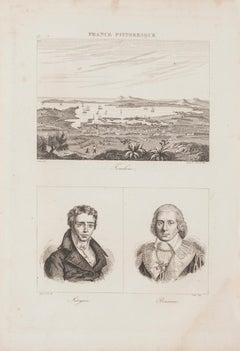 Portraits and Landscape - Original Lithograph  - 19th Century